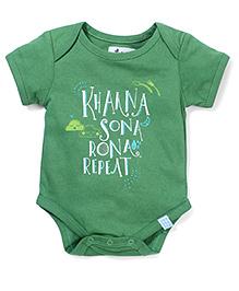 Zeezeezoo Khaana Sona Rona Repeat Onesie - Green