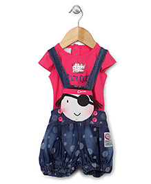 N-XT Dungaree With Top Pirate Queen Print - Dark Pink Blue