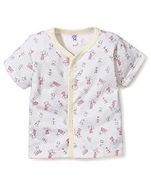 Pink Rabbit Half Sleeves Vest Alphabet Print -Light Yellow