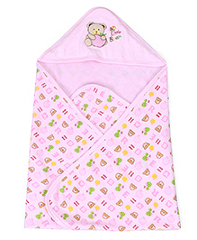 Pink Rabbit Hooded Towel Bear Embroidery - Pink