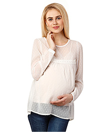 Oxolloxo Full Sleeves Maternity Top With Camisole - White