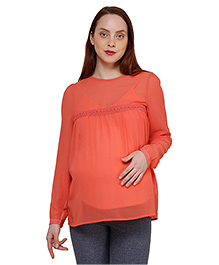 Oxolloxo Full Sleeves Maternity Top With Camisole - Orange