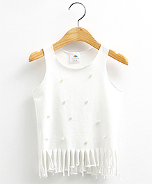 Pre Order : Mauve Collection Cute Tassel And Pearl Top - White