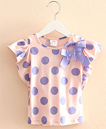 Pre Order : Mauve Collection Pretty Polka Dot Top With Bow -  Pink