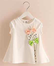 Pre Order : Mauve Collection Cute Bow Knot Top -  White