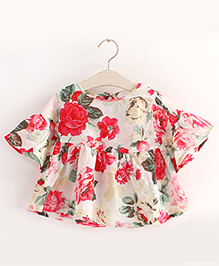 Pre Order : Mauve Collection Floral Print Batwing Style Top -   White