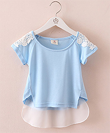 Pre Order : Mauve Collection Cute Lace And Style Top -  Blue