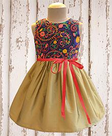 A.T.U.N Floral Splash Embroidered Dress - Golden