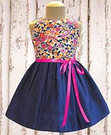 A.T.U.N Kashmir Garden Embroidered Dress - Navy Blue