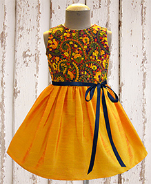 A.T.U.N Amber Paisley Garden Embroidered Dress - Yellow