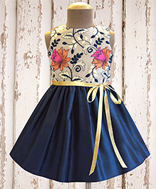 A.T.U.N Blooming Lilies Embroidered Dress - Navy Blue