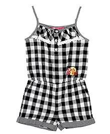 Barbie Singlet Gingham Check Jumpsuit - Jet Black & Optic White