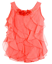 Barbie Sleeveless Party Wear Top With Multiple Cascading Ruffles - Flamingo Pink