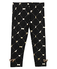 Barbie Full Length Iconic Print Leggings With Bow Appliques - Jet Black And Silver