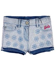 Barbie Denim Shorts With Turn Up Hem - Blue