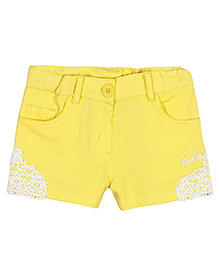 Barbie Shorty Shorts In Knitted Colored Twill With Stretch - Sunshine Yellow