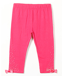 Barbie Full Length Leggings With Embellishments And Bow Applique - Pink