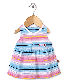 Wow Sleeveless Stripe Frock - Pink Blue White