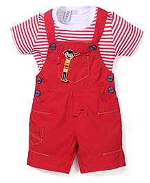 Mickey Half Sleeves T-Shirt and Dungaree Set - Red
