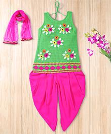 Twisha Embroidered Kurta With Salwar With Dupatta - Green & Pink