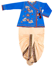 Yashasvi Cotton Full Sleeves Dhoti Kurta Set - Blue and Cream