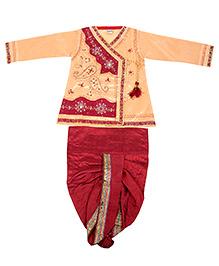 Yashasvi Cotton Full Sleeves Dhoti Kurta Set - Cream and Red