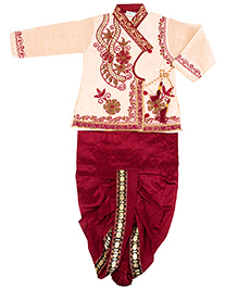 Yashasvi Cotton Full Sleeves Dhoti Kurta Set - Cream and Red