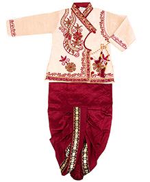 Yashasvi Boy's Dark colored Cotton Ethnic Set Gold 20 9 - 18 Months Cotton