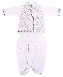 Yashasvi Cotton Full Sleeves Dhoti Kurta Set - White