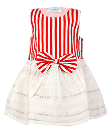 Pikaboo Party Dress Stripes Pattern - Red and White