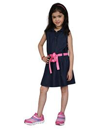 My Lil Berry Sleeveless Denim Belted Dress - Blue