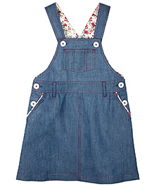 My Lil' Berry Denim Dungaree Style Frock - Blue