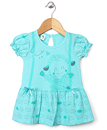 Cucumber Short Sleeves Heart Print Frock - Aqua