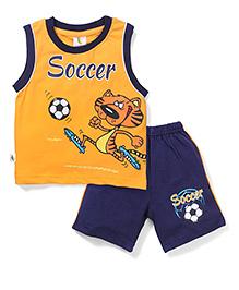 Cucumber Sleeveless Soccer Printed T-Shirt & Shorts - Yellow & Navy