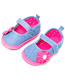 Little Hip Boutique Bubble Gum Denim Pre Walkers - Pink