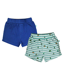 FS Mini Klub Stripes And Solid Color Shorts - Green And Navy Blue