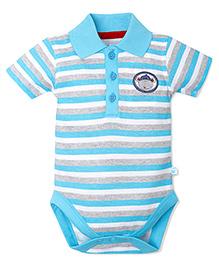 FS Mini Klub Stripes Onesie Mr Penguin Logo - Blue