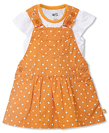 FS Mini Klub Cap Sleeves Dungaree Dotted Frock With Inner - Orange