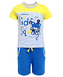 FS Mini Klub Half Sleeves Printed T-Shirt And Shorts - Yellow And Blue