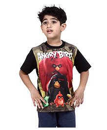 Angry Birds Printed Half Sleeves T-Shirt - Black