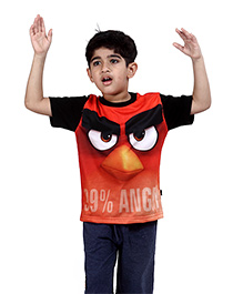 Angry Birds Printed Half Sleeves T-Shirt - Red & Black
