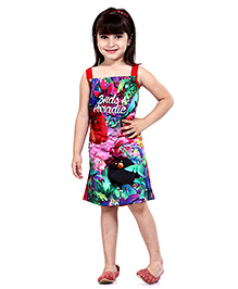 Angry Birds Printed Sleeveless Frock - Red