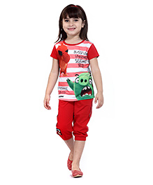 Angry Birds Half Sleeves Stripes Printed Top With Capri - Red