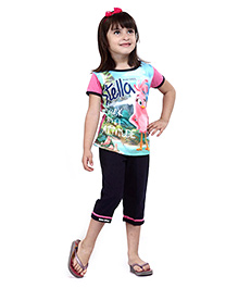 Angry Birds Half Sleeves Printed Top With Capri -  Pink