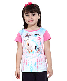 Angry Birds Half Sleeves Printed Top - Pink And White