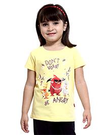Angry Birds Half Sleeves Printed Top - Yellow