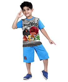 Angry Birds Half Sleeves Stripes Printed T-Shirt With Shorts - Blue