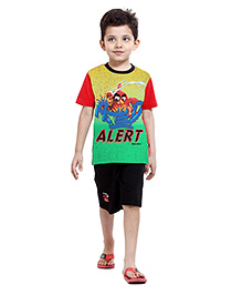 Angry Birds Half Sleeves Stripes Printed T-Shirt With Shorts - Multicolor