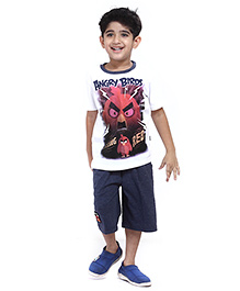 Angry Birds Half Sleeves Stripes Printed T-Shirt With Shorts - White