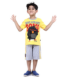Angry Birds Half Sleeves Stripes Printed T-Shirt With Shorts - Yellow And Grey